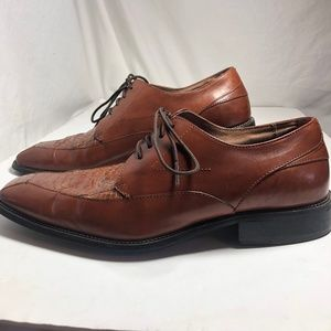 Stacy Adams Snakeskin Brown Leather Lace Up Oxford